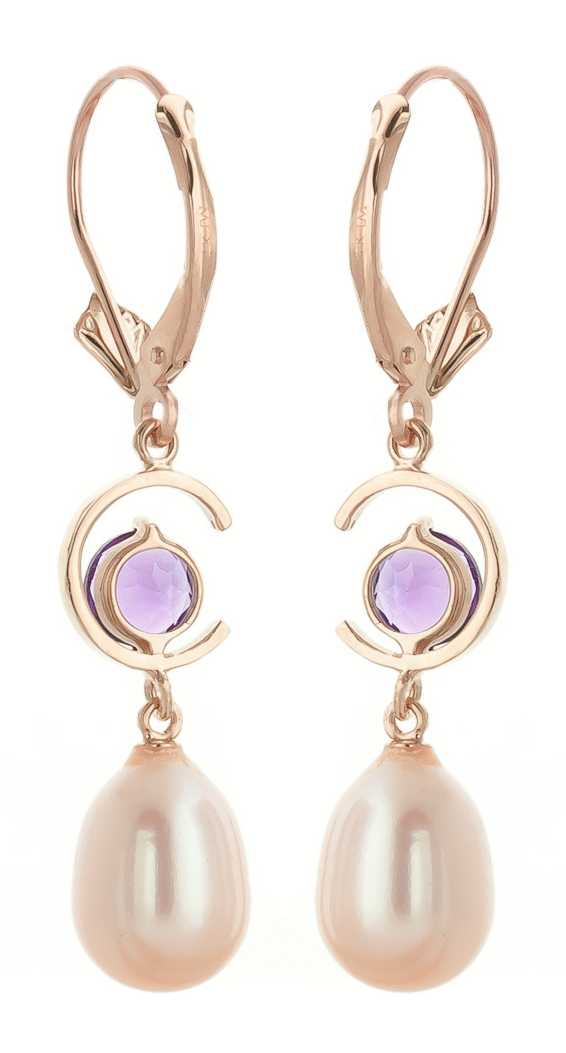 Pearl and Amethyst Drop Earrings 9.0ctw in 9ct Rose Gold