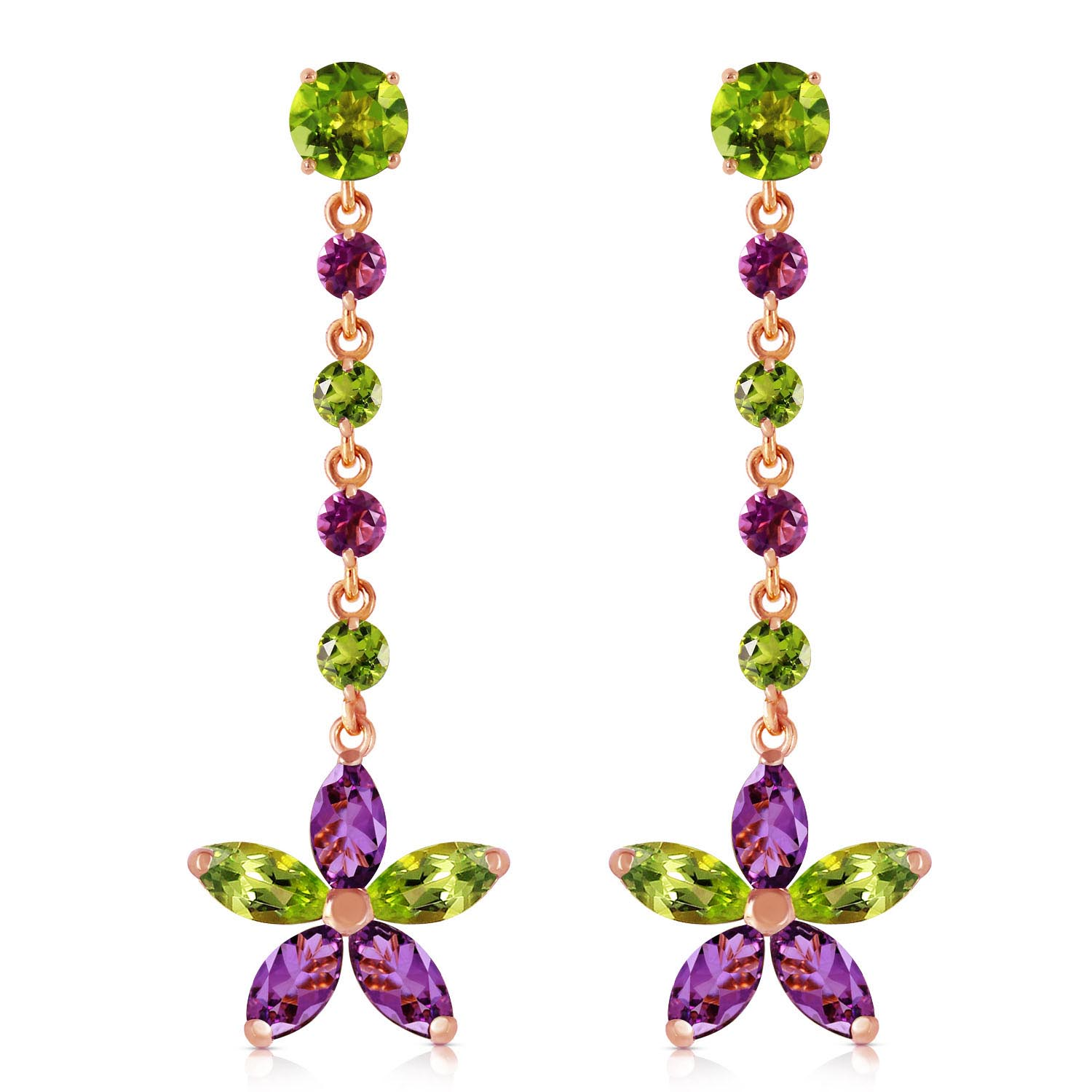 Peridot and Amethyst Daisy Chain Drop Earrings 4.8ctw in 9ct Rose Gold