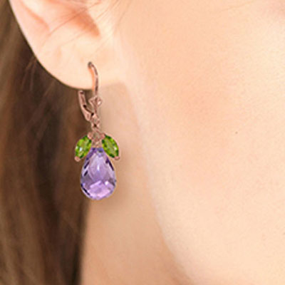 Peridot and Amethyst Drop Earrings 14.4ctw in 9ct Rose Gold
