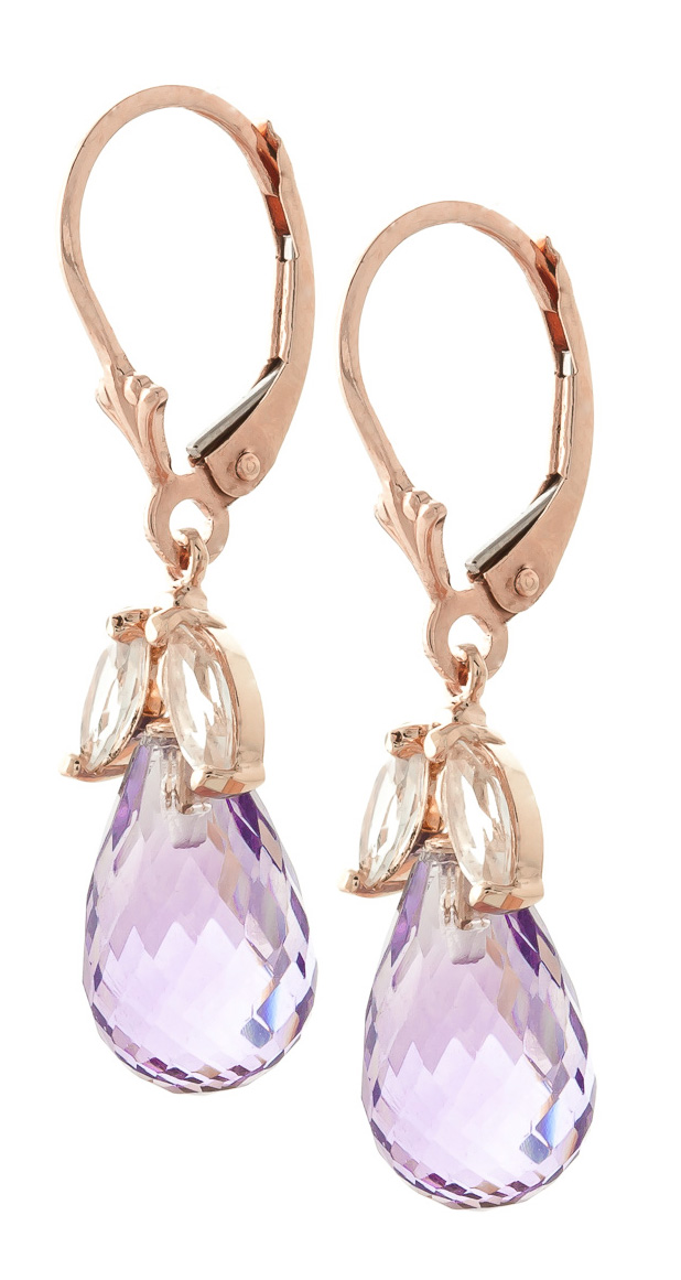 White Topaz and Amethyst Drop Earrings 14.4ctw in 9ct Rose Gold