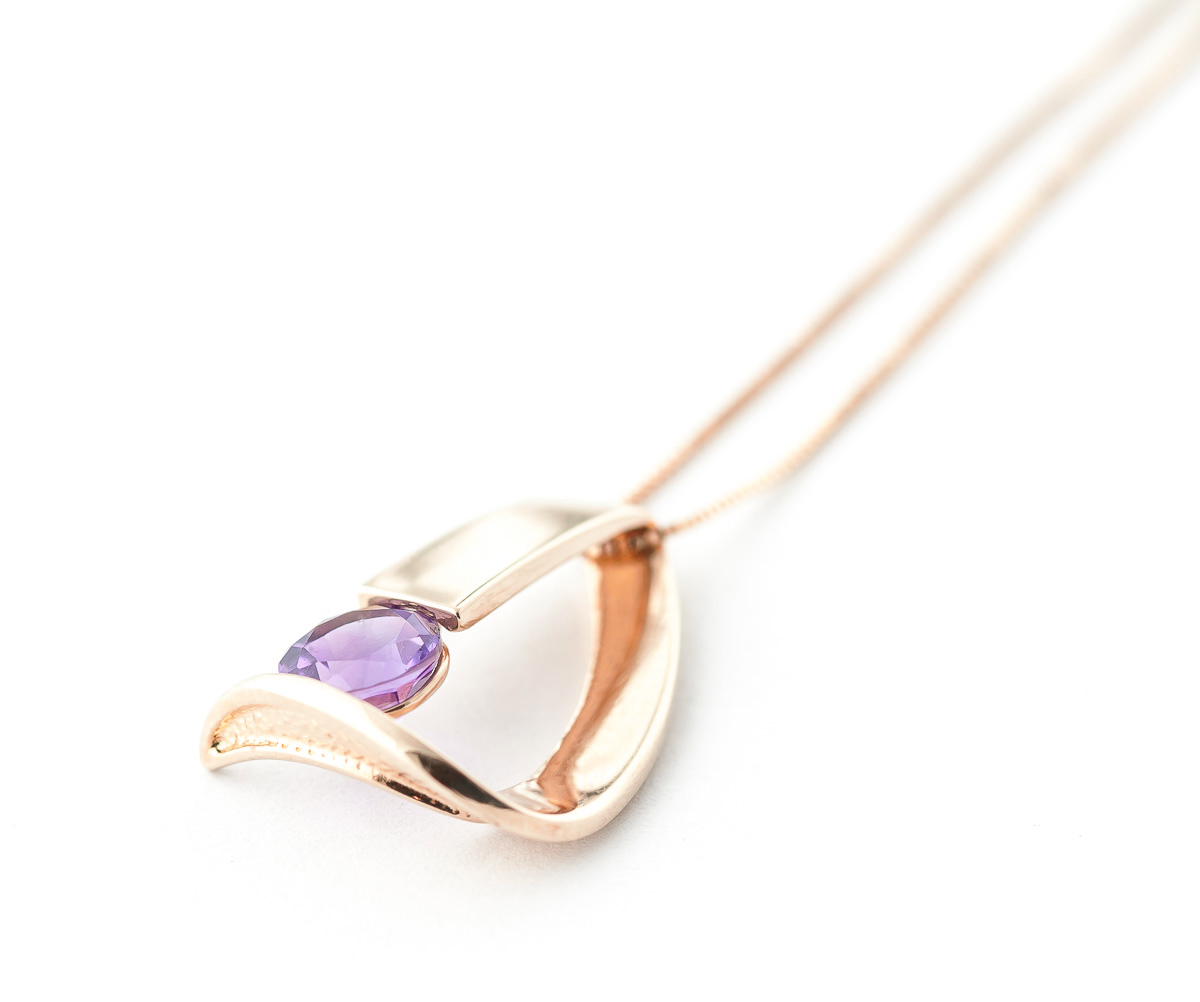 Amethyst Arc Pendant Necklace 1.0ct in 9ct Rose Gold