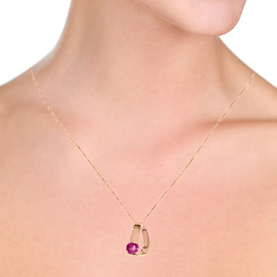 Pink Topaz Arc Pendant Necklace 1.0ct in 9ct Rose Gold