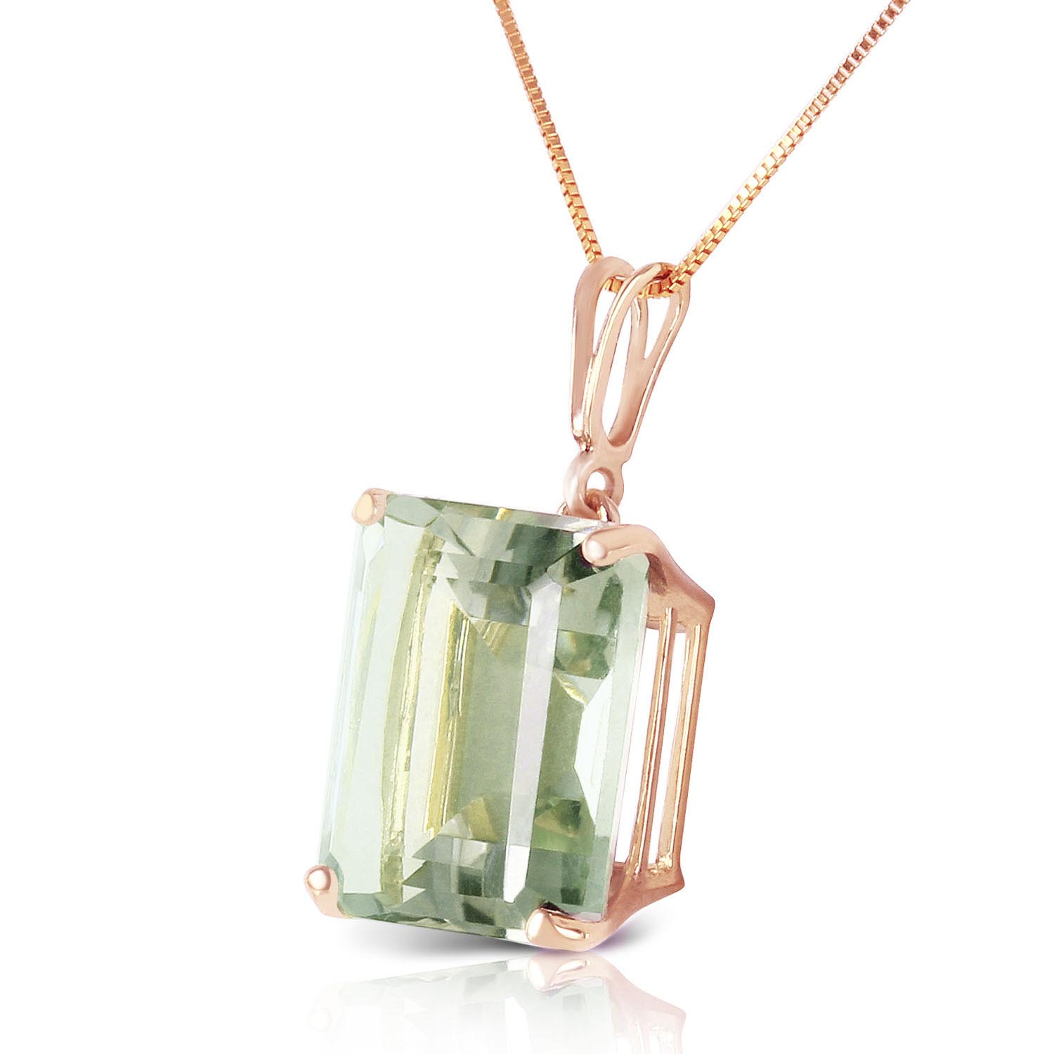 Green Amethyst Pendant Necklace 6.5ct in 9ct Rose Gold