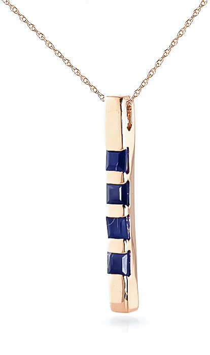 Sapphire Bar Pendant Necklace 0.35ctw in 9ct Rose Gold