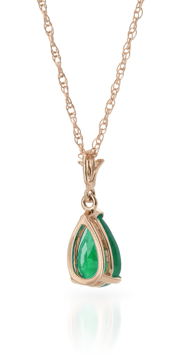 Emerald Belle Pendant Necklace 1.0ct in 9ct Rose Gold
