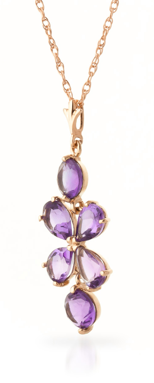 Amethyst Blossom Pendant Necklace 3.15ctw in 9ct Rose Gold