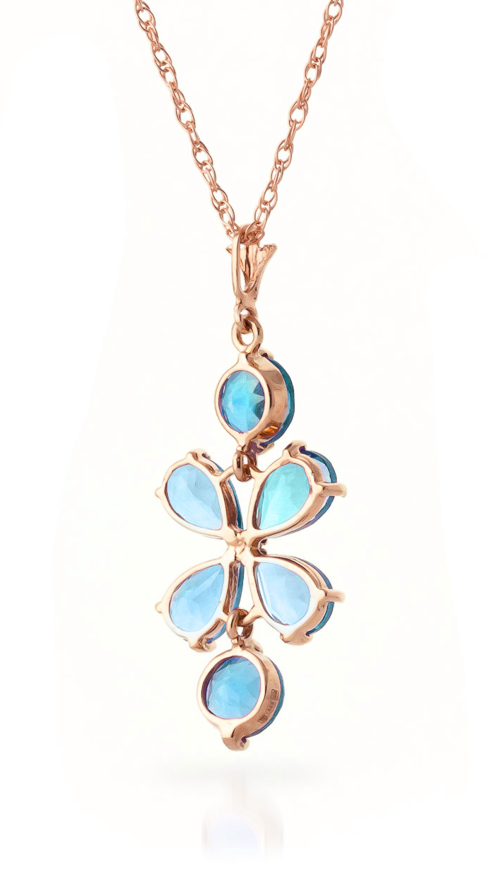 Blue Topaz Blossom Pendant Necklace 3.15ctw in 9ct Rose Gold