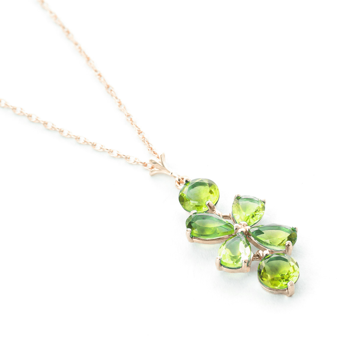Peridot Blossom Pendant Necklace 3.15ctw in 9ct Rose Gold