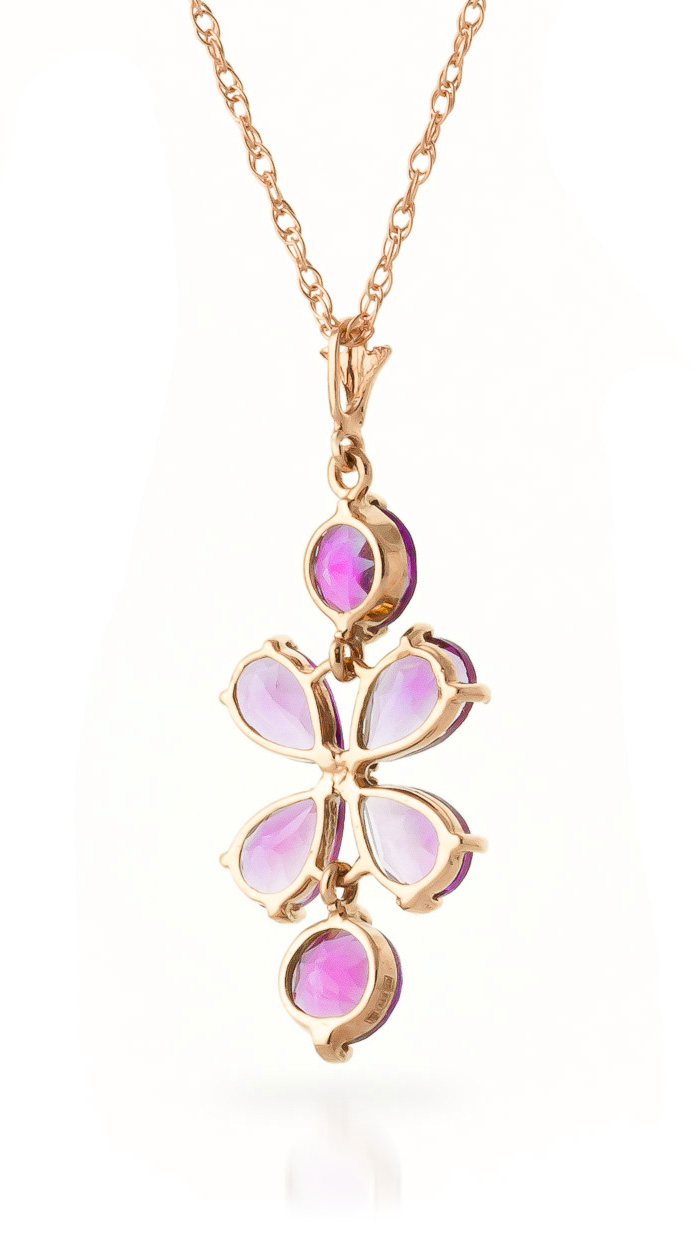 Pink Topaz Blossom Pendant Necklace 3.15ctw in 9ct Rose Gold
