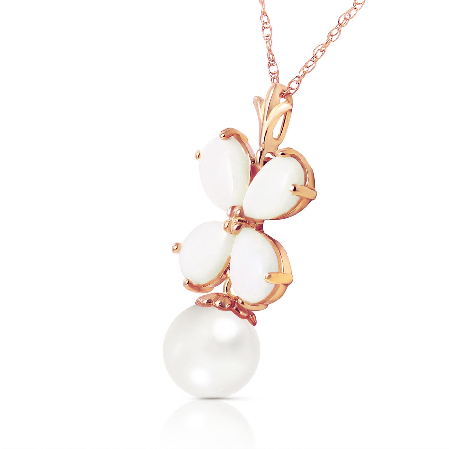 Opal and Pearl Blossom Pendant Necklace 3.0ctw in 9ct Rose Gold