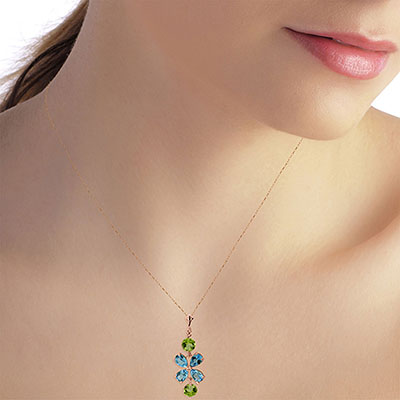 Blue Topaz and Peridot Blossom Pendant Necklace 3.15ctw in 9ct Rose Gold