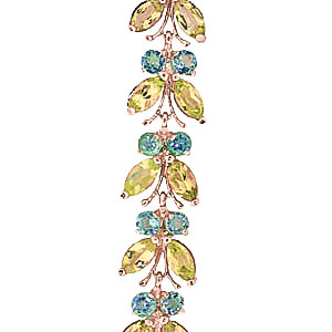 Peridot and Blue Topaz Butterfly Bracelet 16.5ctw in 9ct Rose Gold
