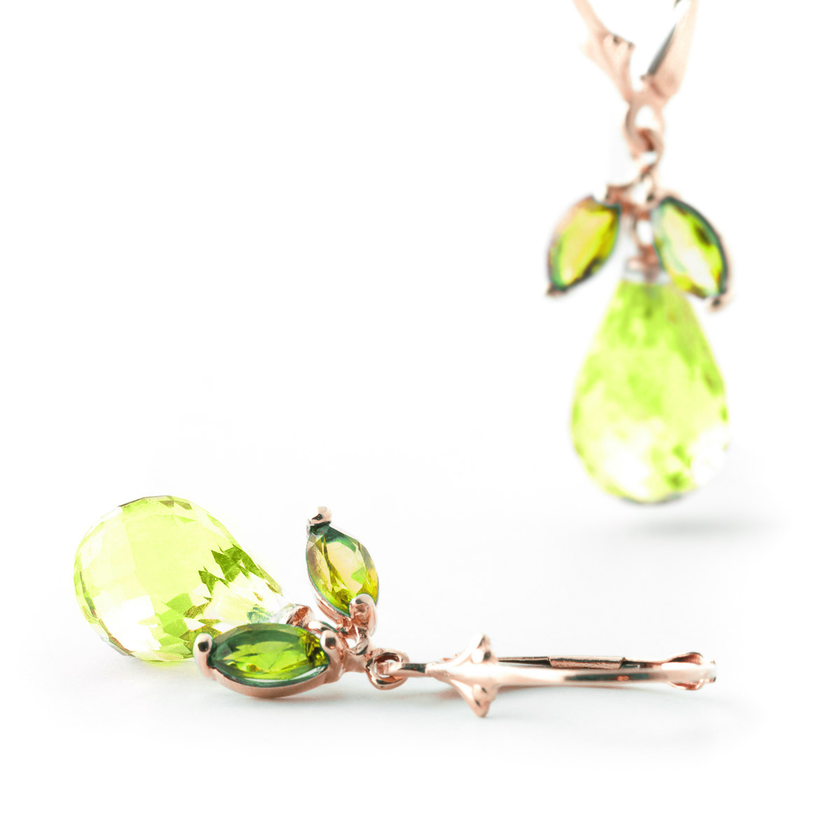 Peridot and Blue Topaz Drop Earrings 14.4ctw in 9ct Rose Gold