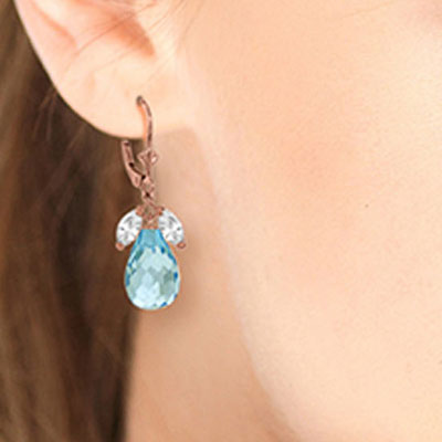 White Topaz and Blue Topaz Drop Earrings 14.4ctw in 9ct Rose Gold