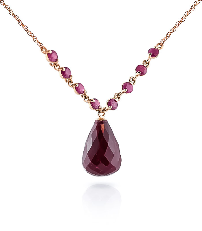 Ruby Briolette Pendant Necklace 15.8ctw in 9ct Rose Gold