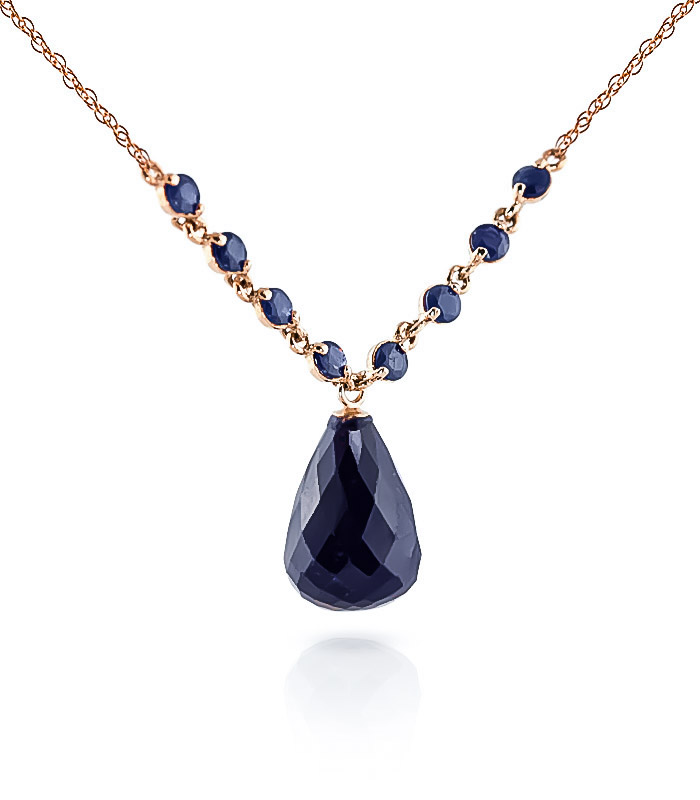 Sapphire Briolette Pendant Necklace 15.8ctw in 9ct Rose Gold