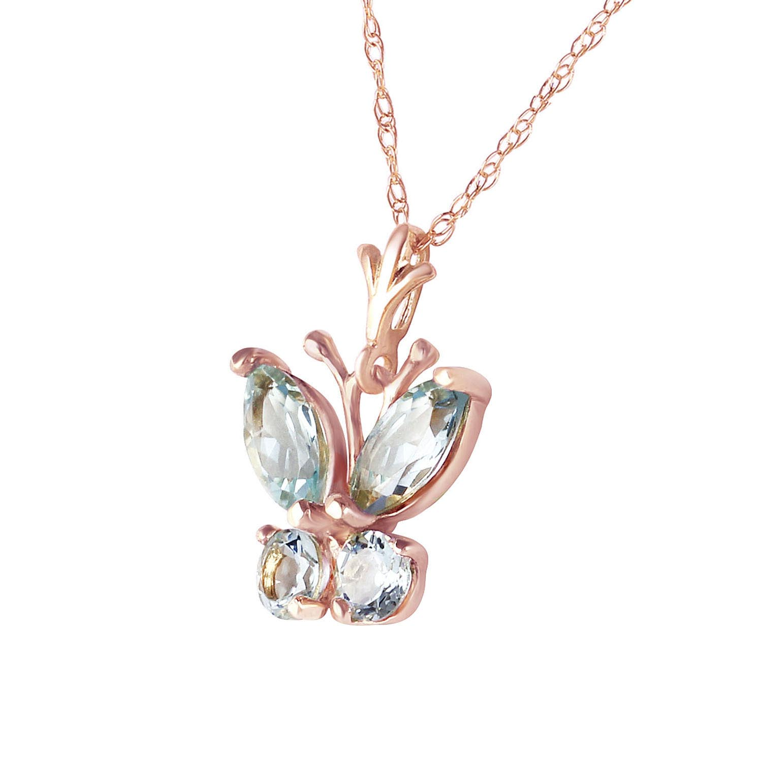 Aquamarine Butterfly Pendant Necklace 0.4ctw in 9ct Rose Gold
