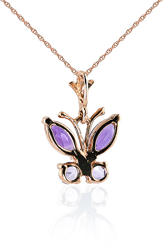 Amethyst Butterfly Pendant Necklace 0.6ctw in 9ct Rose Gold