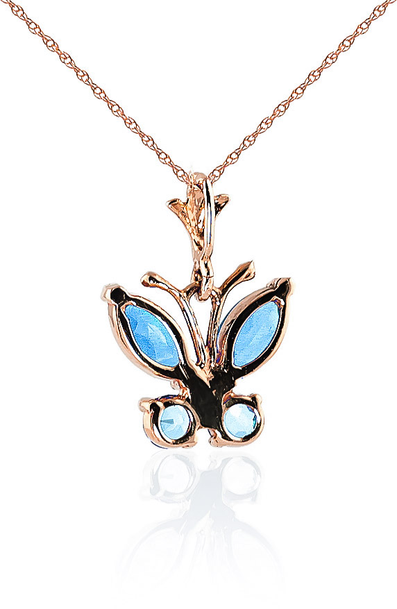 Blue Topaz Butterfly Pendant Necklace 0.6ctw in 9ct Rose Gold