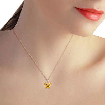 Citrine Butterfly Pendant Necklace 0.6ctw in 9ct Rose Gold