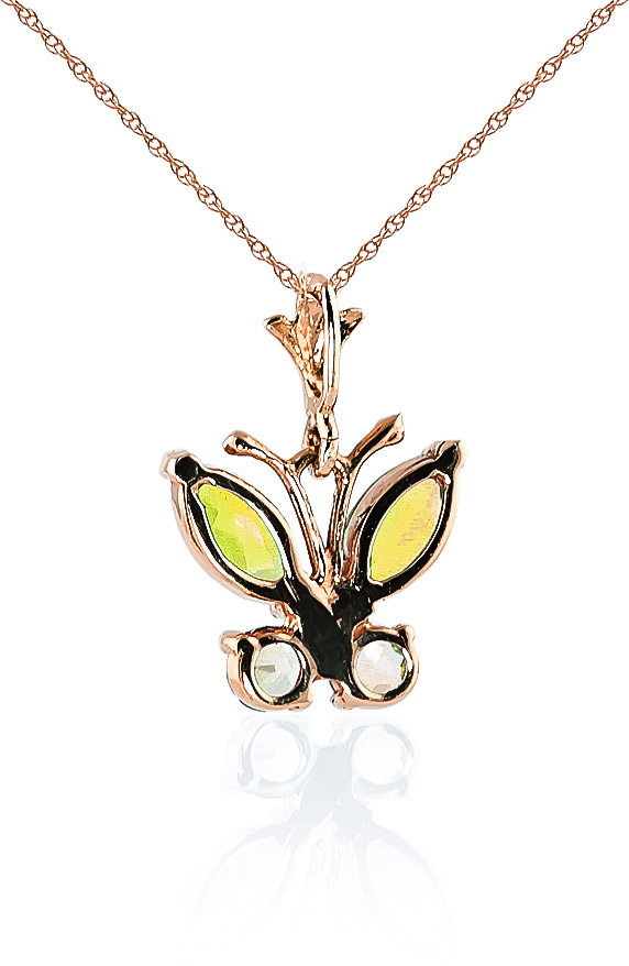Peridot Butterfly Pendant Necklace 0.6ctw in 9ct Rose Gold