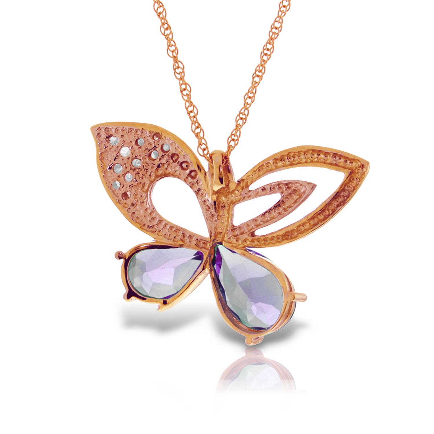 Amethyst and Diamond Butterfly Pendant Necklace 3.5ctw in 9ct Rose Gold