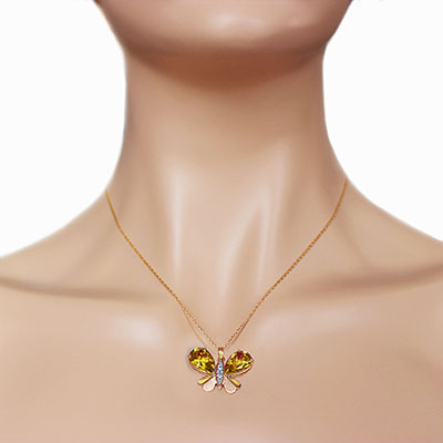 Citrine and Diamond Butterfly Pendant Necklace 7.0ctw in 9ct Rose Gold