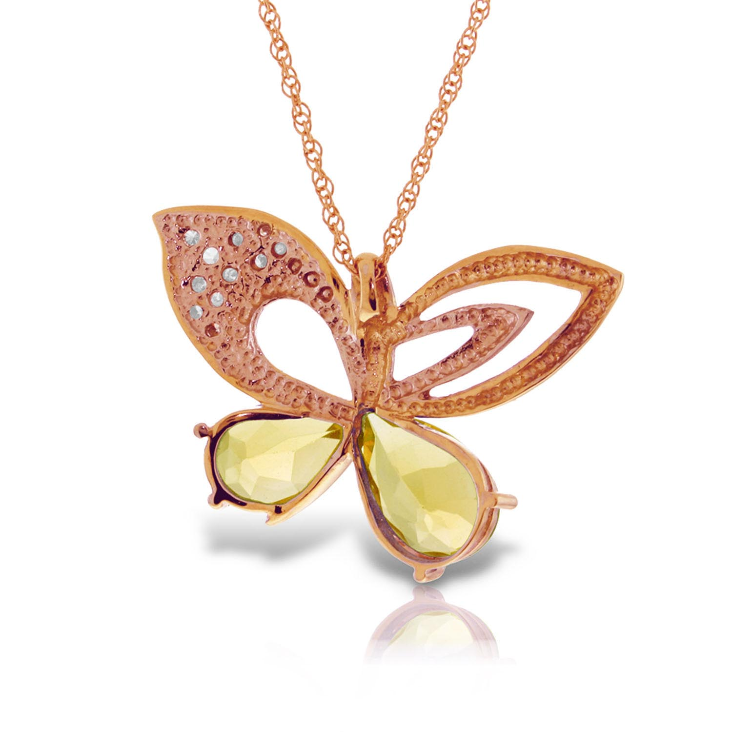 Citrine and Diamond Butterfly Pendant Necklace 3.1ctw in 9ct Rose Gold