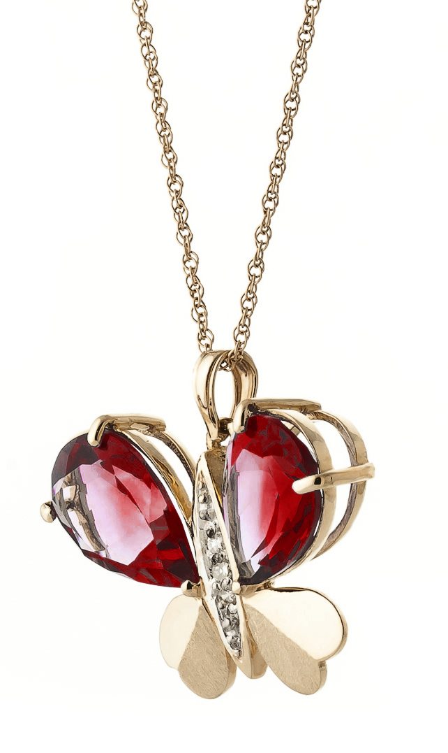 Garnet and Diamond Butterfly Pendant Necklace 7.0ctw in 9ct Rose Gold