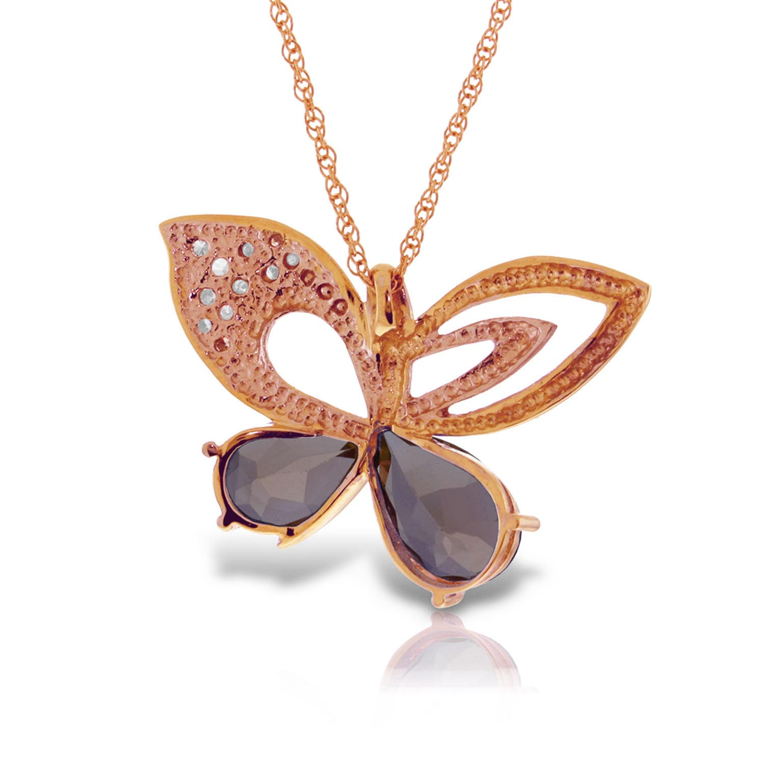 Garnet and Diamond Butterfly Pendant Necklace 3.5ctw in 9ct Rose Gold