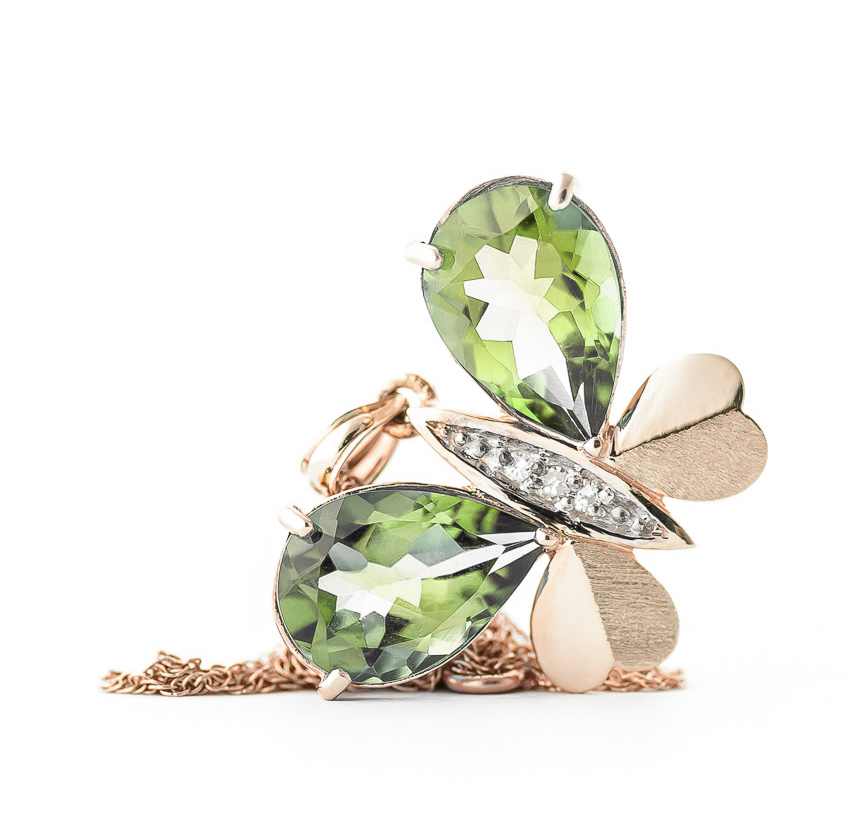 Green Amethyst and Diamond Butterfly Pendant Necklace 6.5ctw in 9ct Rose Gold