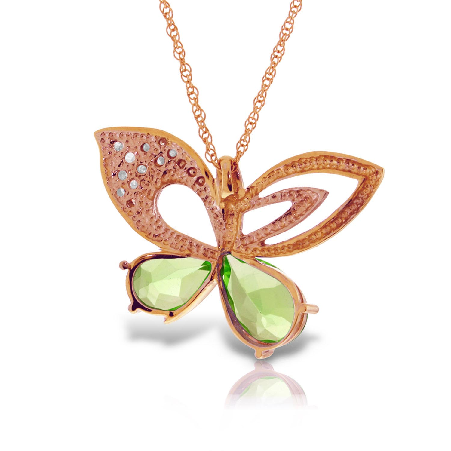 Peridot and Diamond Butterfly Pendant Necklace 3.6ctw in 9ct Rose Gold
