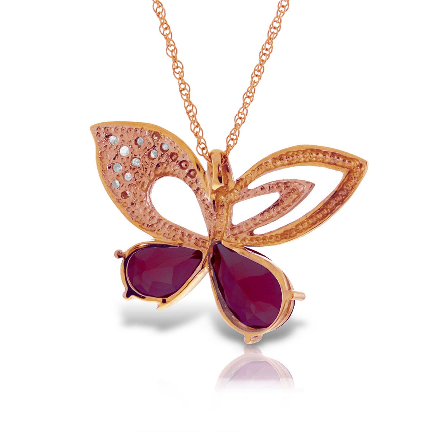 Ruby and Diamond Butterfly Pendant Necklace 4.2ctw in 9ct Rose Gold