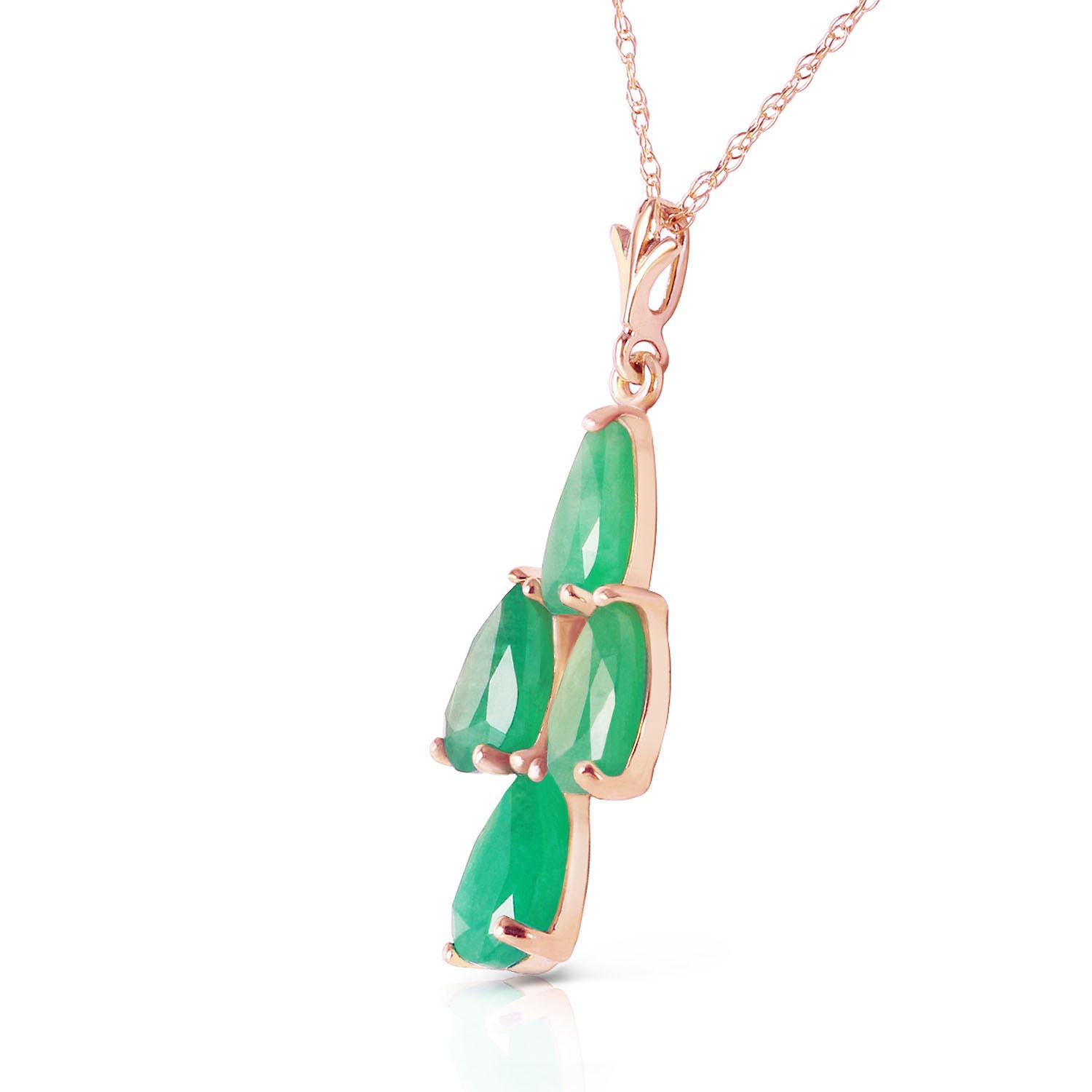 Pear Cut Emerald Pendant Necklace 1.5ctw in 9ct Rose Gold