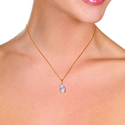 Amethyst and Diamond Chequer Pendant Necklace 5.0ct in 9ct Rose Gold