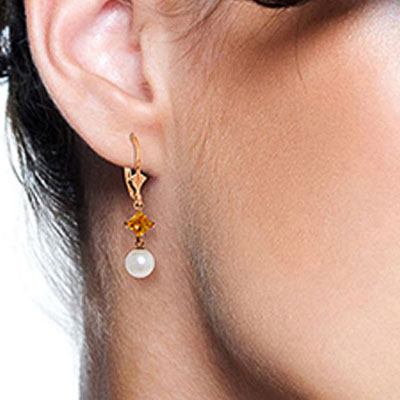 Pearl and Citrine Drop Earrings 5.0ctw in 9ct Rose Gold