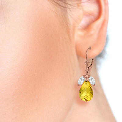 White Topaz and Citrine Drop Earrings 14.4ctw in 9ct Rose Gold