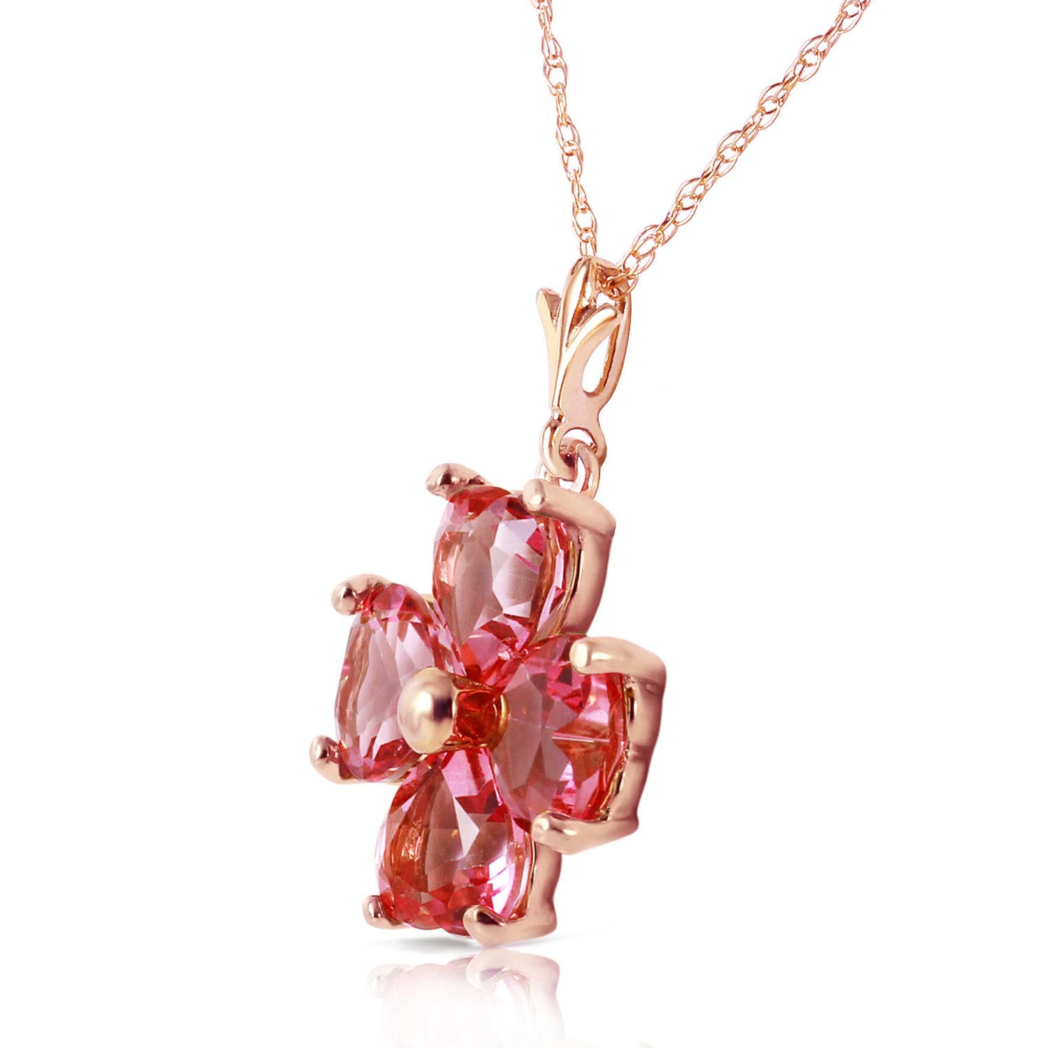 Pink Topaz Four Leaf Clover Heart Pendant Necklace 3.8ctw in 9ct Rose Gold