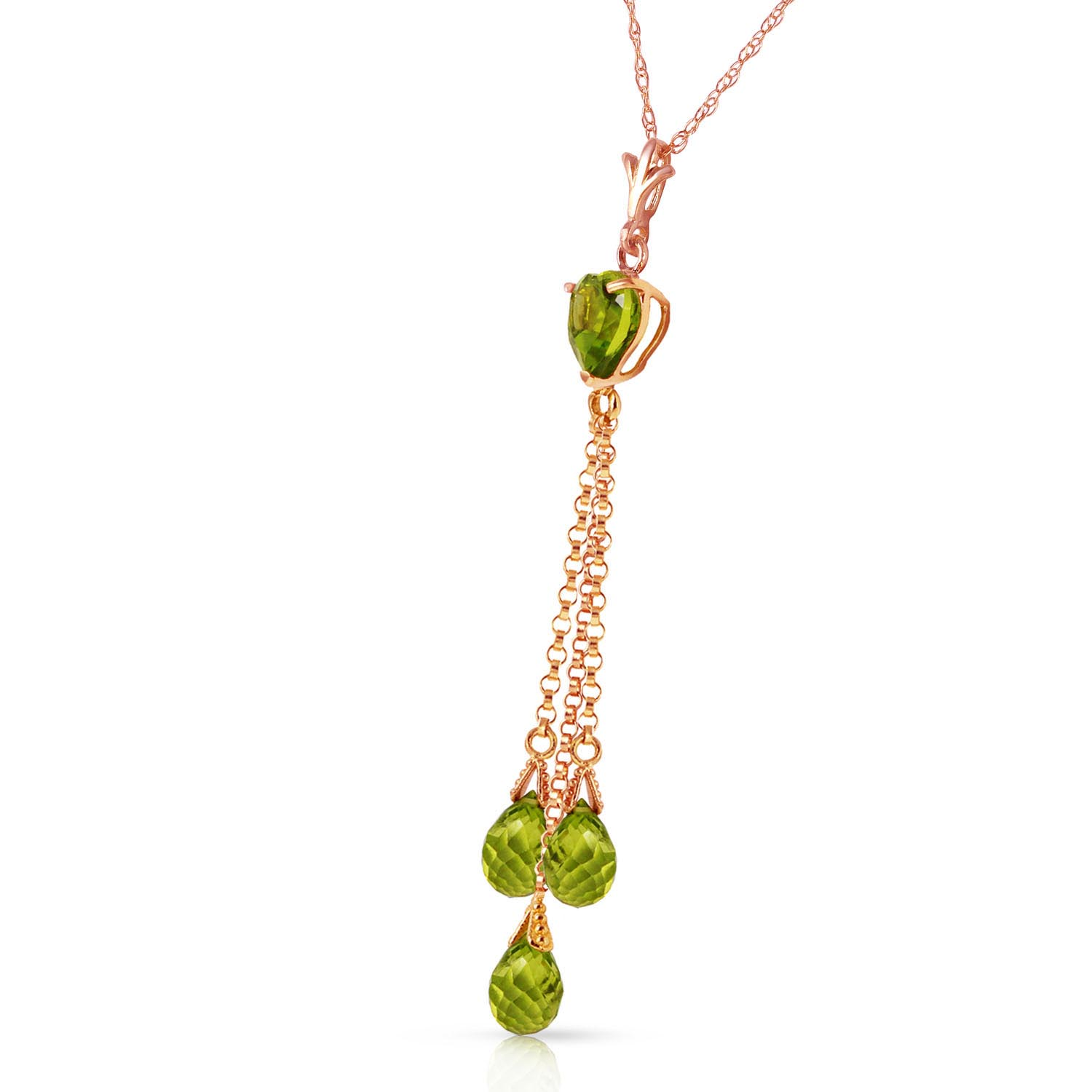 Peridot Comet Tail Heart Pendant Necklace 4.75ctw in 9ct Rose Gold