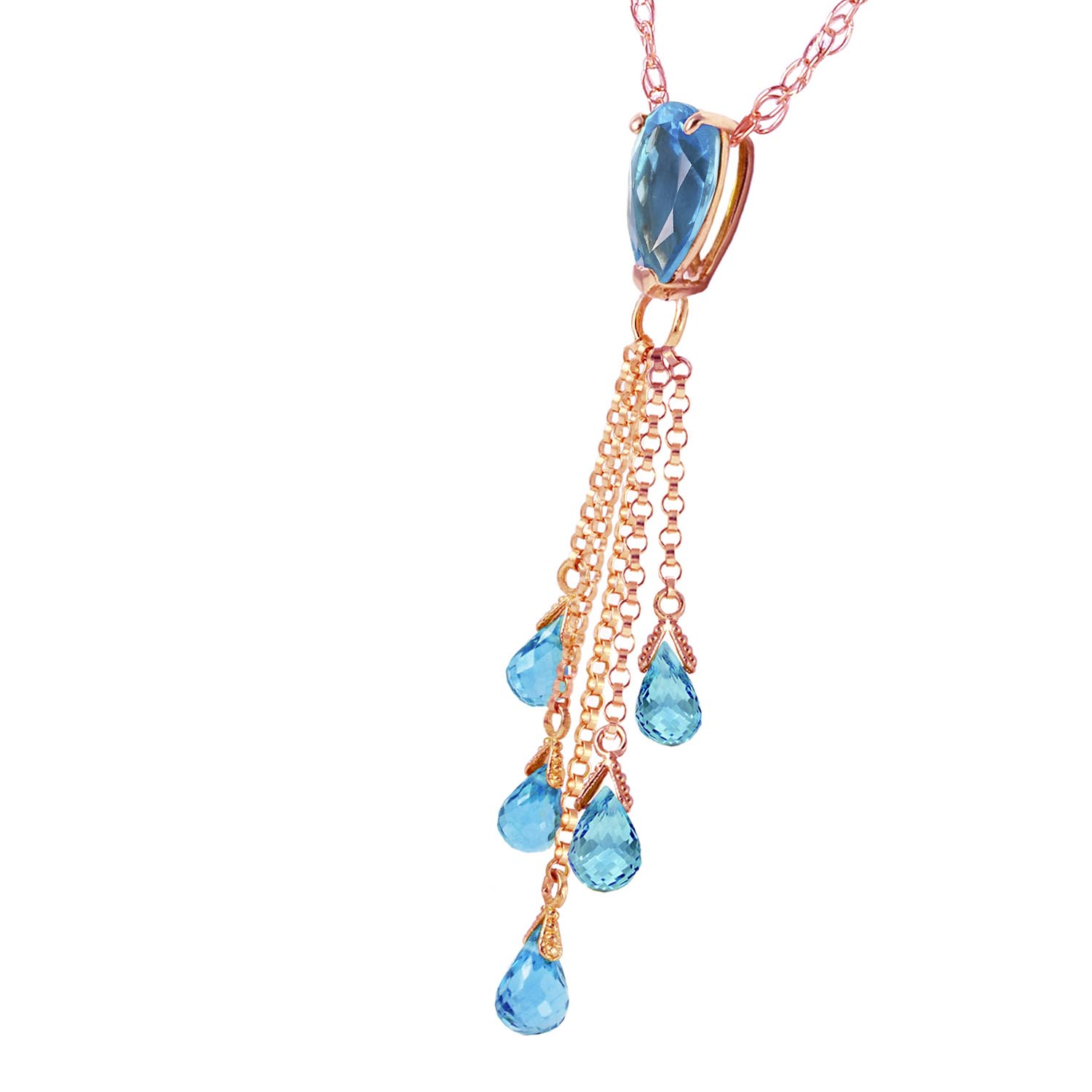 Blue Topaz Comet Tail Pendant Necklace 7.5ctw in 9ct Rose Gold