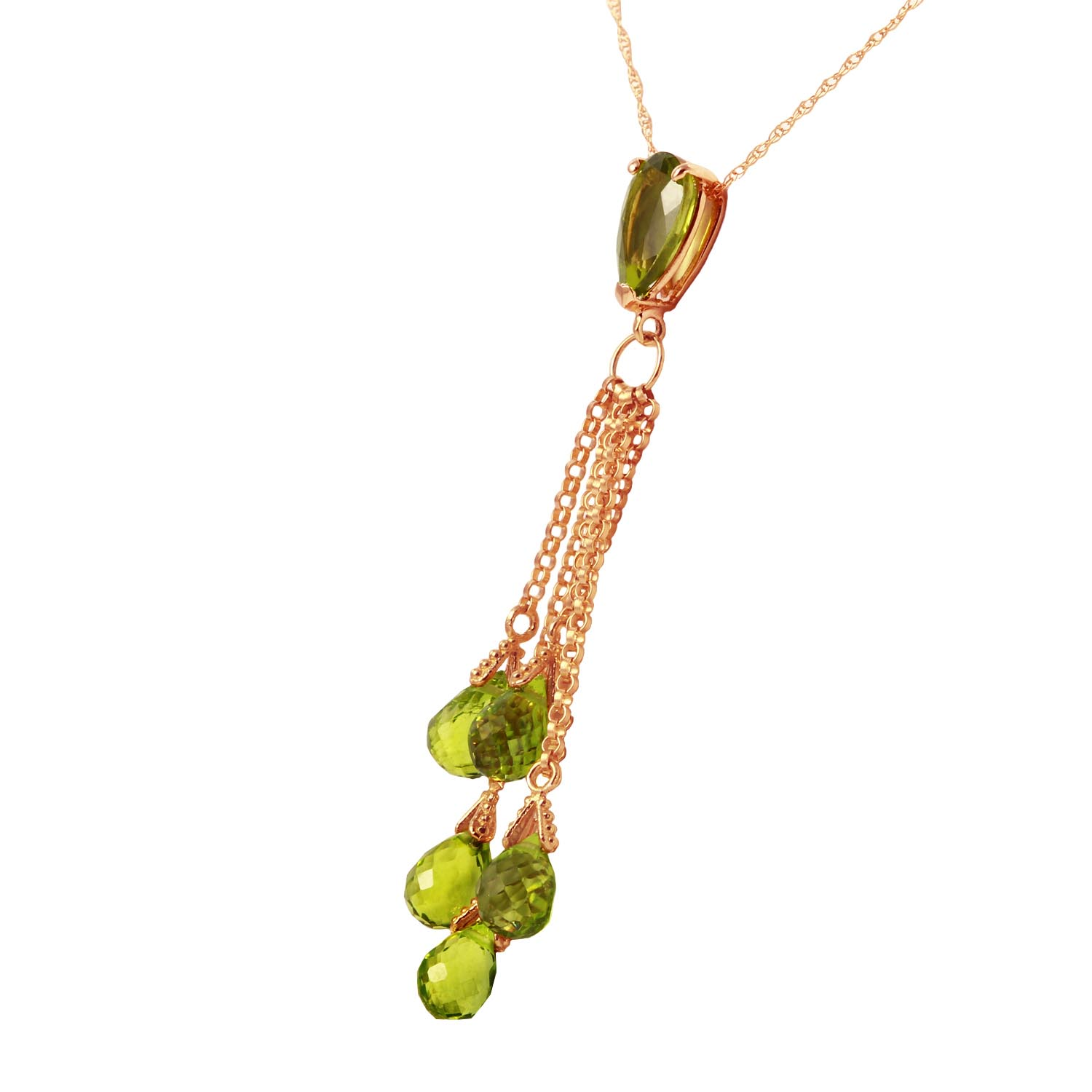 Peridot Comet Tail Pendant Necklace 7.5ctw in 9ct Rose Gold