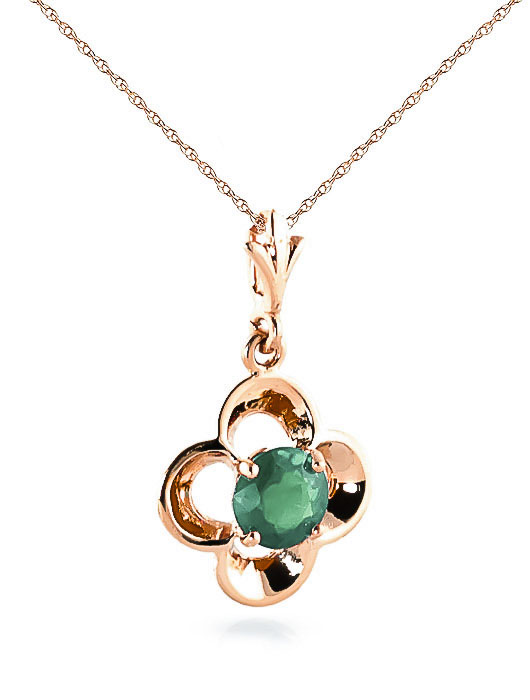 Emerald Corona Pendant Necklace 0.55ct in 9ct Rose Gold