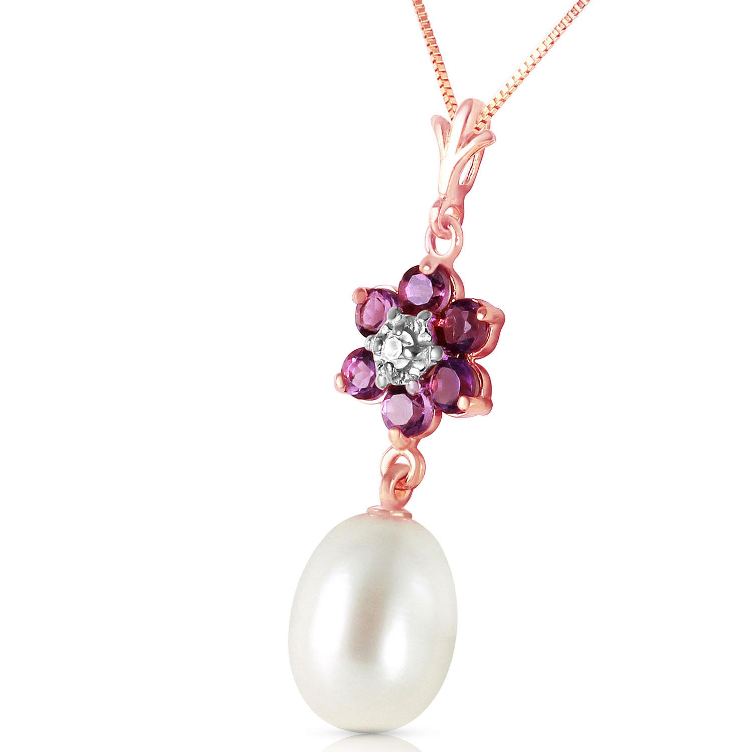 Pearl, Amethyst and Diamond Daisy Pendant Necklace 4.5ctw in 9ct Rose Gold