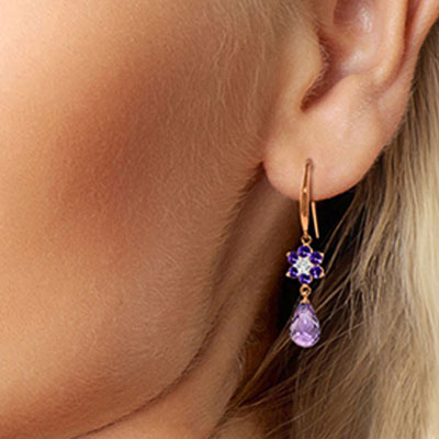 Amethyst and Diamond Daisy Chain Drop Earrings 5.45ctw in 9ct Rose Gold