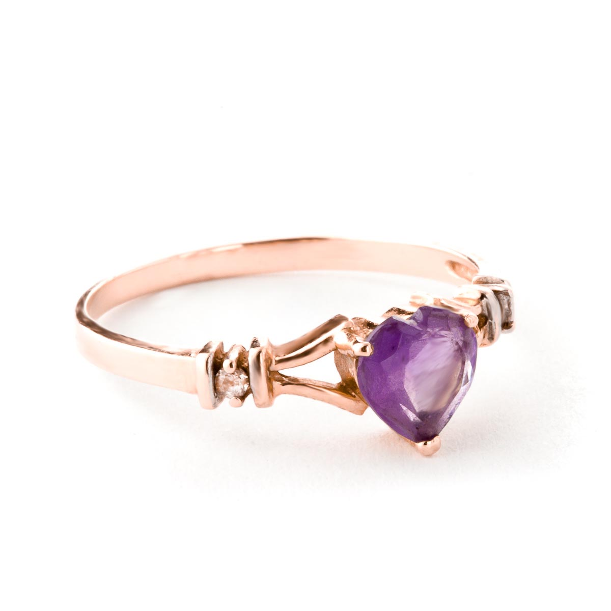 Amethyst and Diamond Ring 0.45ct in 9ct Rose Gold