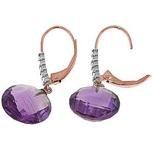 Amethyst and Diamond Chequer Cut Drop Earrings 10.6ctw in 9ct Rose Gold
