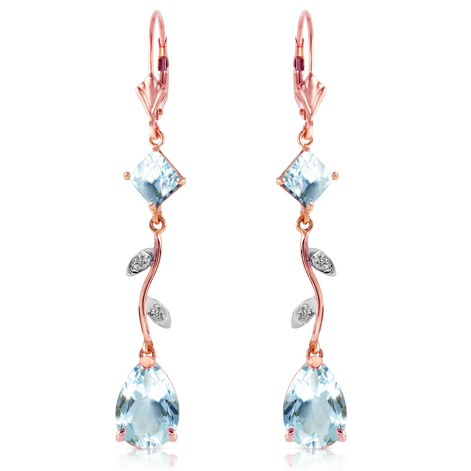 Aquamarine and Diamond Vine Branch Drop Earrings 3.95ctw in 9ct Rose Gold