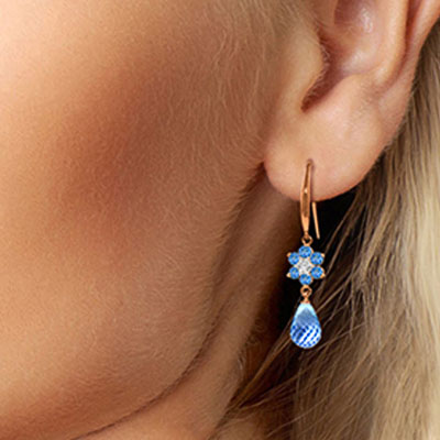 Blue Topaz and Diamond Daisy Chain Drop Earrings 5.45ctw in 9ct Rose Gold