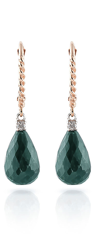 Emerald and Diamond Stem Drop Earrings 17.6ctw in 9ct Rose Gold