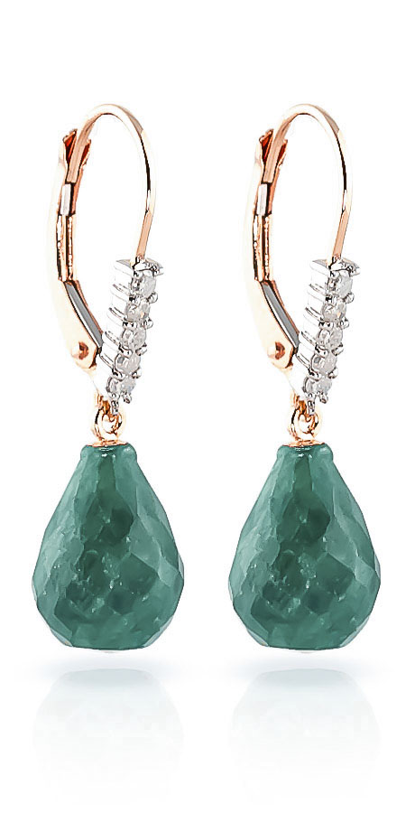 Emerald and Diamond Stem Drop Earrings 8.8ctw in 9ct Rose Gold